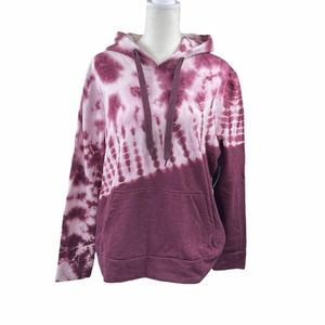 Womens Pink & White Tie Dyed Hooded Sweatshirt NWT